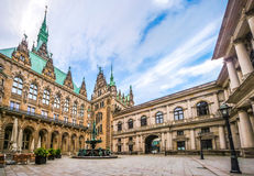 Beautiful Hamburg town hall with Hygieia fountain from courtyard Royalty Free Stock Image
