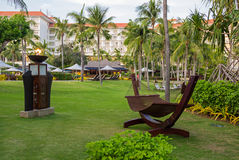 Beautiful hammock in the tropical resort. Peaceful place for rest and relaxation Stock Photo