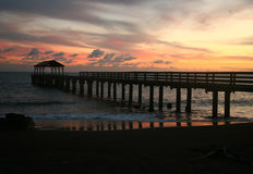 Beautiful Hanalei Bay Pier Sunset in Hawaii Stock Images