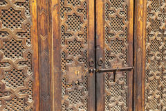 Beautiful hand carved wooden door in Marrakech, Morocco Stock Images
