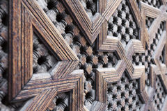 Beautiful hand carved wooden door in Marrakech, Morocco Royalty Free Stock Image