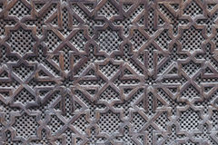 Beautiful hand carved wooden door in Marrakech, Morocco Royalty Free Stock Photos