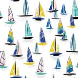 Beautiful Hand drawing colorful wind surf seamless pattern. In . Flat style illustration. Summer beach surfing illustration in the ocean on white  background Royalty Free Stock Photography