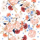 Beautiful hand drawing seamless pattern Blooming drawing florals. Background for textile decor and design. botanical wallpaper on white Stock Image