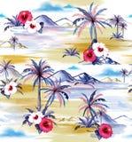 Beautiful hand drawing watercolor painting island hawaiian style vector illustration
