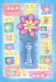 Beautiful hand drawn card with flower in a vase. Royalty Free Stock Image