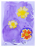 Beautiful hand drawn card with yellow and orange flowers Royalty Free Stock Photography