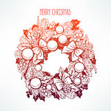 Beautiful hand-drawn Christmas wreath Royalty Free Stock Image