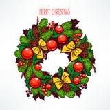 Beautiful hand-drawn Christmas wreath Stock Photos
