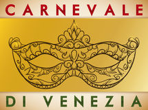Beautiful Hand Drawn Colombina Mask for Carnival of Venice, Vector Illustration Royalty Free Stock Images