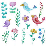 Beautiful hand drawn decorative floral elements and birds for de Royalty Free Stock Image