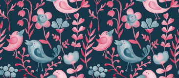 Beautiful hand drawn decorative floral elements and birds for de Stock Images