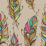Beautiful hand drawn feathers boho and hippie style seamless pattern background.  Royalty Free Stock Photo