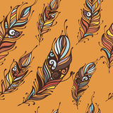 Beautiful hand drawn feathers boho and hippie style seamless pattern background.  Stock Image