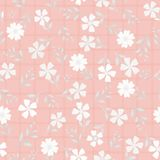 Beautiful hand drawn flowers and leaves in shades of white. Vector seamless pattern on pink watercolour grid background stock illustration