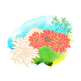 Beautiful hand drawn flowers on watercolor background. Vector illustration Stock Photos