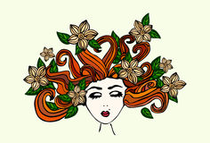 Beautiful hand drawn girl with closed eyes, scattered brown hair, with flowers and green leaves in her hair, vector illustration Stock Photography
