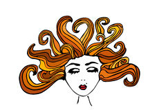 Beautiful hand drawn girl with closed eyes and scattered brown hair, vector illustration Royalty Free Stock Photo