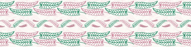 Beautiful hand drawn green and pink leaves border design. Seamless geometric vector pattern on painterly textured white vector illustration