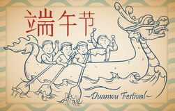 Beautiful Hand Drawn Illustration with Rowing Team for Duanwu Festival, Vector Illustration Stock Images
