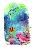 Beautiful hand drawn illustration seaweed and fish. Cartoon style Stock Photo