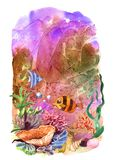 Beautiful hand drawn illustration seaweed and fish. Cartoon style Royalty Free Stock Images