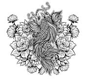 Beautiful Koi carp fish with lotus flowers. Stock Image