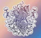 Beautiful Koi carp fish with lotus flowers. Beautiful hand drawn Koi carp fish in lotus water lily flowers. Ornate Asian animal. Symbol of spirituality Royalty Free Stock Photography