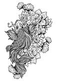 Beautiful Koi carp fish with lotus flowers. Beautiful hand drawn Koi carp fish in lotus water lily flowers. Ornate Asian animal. Symbol of spirituality Royalty Free Stock Images