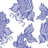 Beautiful Koi carp fish seamless pattern. Beautiful hand drawn Koi carp fish seamless pattern. Ornate Asian animal endless stylish texture. Ornament for of Royalty Free Stock Photography