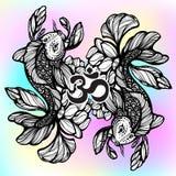Beautiful hand-drawn oriental illustration of Koi carp fish with Lotus flower around. High-detailed graphic linework symbol. Beautiful hand-drawn oriental Royalty Free Stock Images