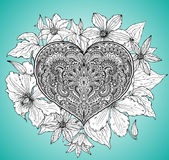 Beautiful hand drawn ornate heart in zentangle style with clemat Royalty Free Stock Photography