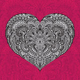 Beautiful hand drawn ornate heart in zentangle style Stock Image
