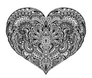 Beautiful hand drawn ornate heart in zentangle style vector illustration