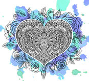 Beautiful hand drawn ornate heart in zentangle style with rose f Royalty Free Stock Image