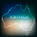 Beautiful hand drawn outline map of Australia, vector illustration Stock Photography