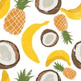 Beautiful hand drawn pattern with bananas, coconuts, pineapples. Seamless floral pattern, summer background. Grunge texture royalty free illustration