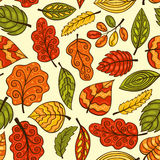Beautiful hand-drawn seamless pattern with autumn leaves Stock Photo