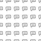 Beautiful hand drawn seamless pattern  fashion chat cloud icon. Hand drawn black sketch. Sign / symbol / doodle. Isolated on white royalty free illustration