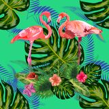 Beautiful hand drawn seamless pattern with palm leaves and flamingo