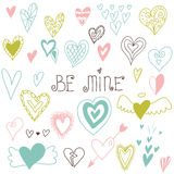 Beautiful hand drawn set of different hearts. Doddle style. Set of valentine hearts for your design. Royalty Free Stock Photos