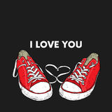 Beautiful hand-drawn sneakers. Vector illustration for a card or poster, print on clothes. Stock Image