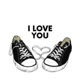 Beautiful hand-drawn sneakers. Vector illustration for a card or poster, print on clothes. Royalty Free Stock Images