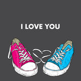 Beautiful hand-drawn sneakers. Vector illustration for a card or poster, print on clothes. Royalty Free Stock Photo