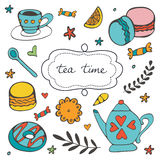 Beautiful hand drawn tea time set with sweet desserts Royalty Free Stock Photo