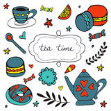 Beautiful hand drawn tea time set with sweet desserts Royalty Free Stock Photos
