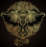 Beautiful Hand-drawn Tribal Style Elephant Over Mandala. Colorful Design With Boho Pattern, Psychedelic Ornaments. Ethnic Stock Photos