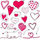 Beautiful hand drawn valentine`s day hearts vector stock illustration