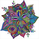 Beautiful hand drawn vector flower with many details Stock Photo