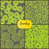 Beautiful hand drawn vector set of seamless patterns with doodling flowers, chaotic scribbles, brush stroke. Gray and bright lemon colors vector illustration